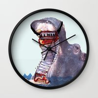 hippo Wall Clocks featuring Hippo by MGNFQ