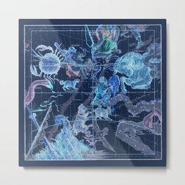 Star Atlas Vintage Constellation Map Pardies Plate 5 negative blue inverted Metal Print