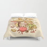 food Duvet Covers featuring Food Fight by Alex Solis