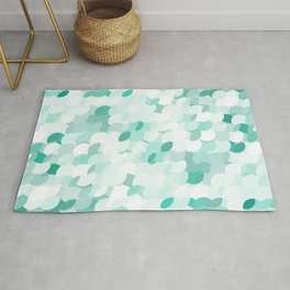 Teal blue abstract fluffy clouds, soft blue summer design  Rug
