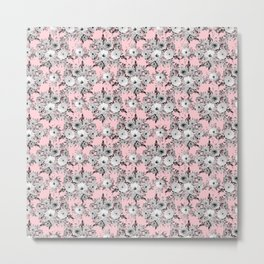 Cute Pink Gray White Floral Watercolor Paint Metal Print