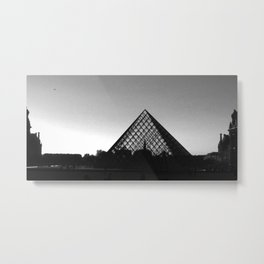 Sunset at the Louvre (b&w) Metal Print