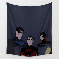 minimalism Wall Tapestries featuring Batfamily Minimalism by BellaAlderton