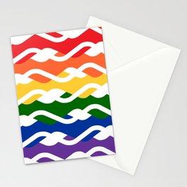 LGBT Rainbow Waves Flat Design White Stationery Cards