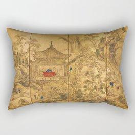 Roukaku Sansui Zu (landscape with tower) by Ike no Taiga (18th century) Rectangular Pillow