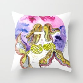 Mamá Sirena e hija Throw Pillow