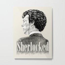 Sherlocked - Sherlock Holmes Benedict Cumberbatch Crosshatch Etching Metal Print