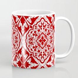BOHEMIAN PALACE, ORNATE DAMASK: RED and WHITE Coffee Mug
