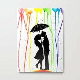 Kissing in the rain Metal Print