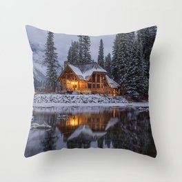 Cabin in Winter Woods (Color) Throw Pillow