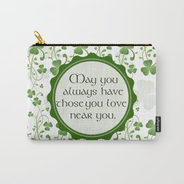 Irish Blessing Shamrock Background Carry-All Pouch