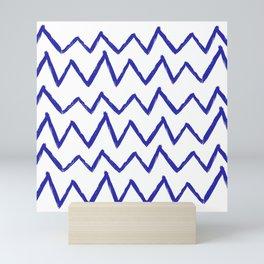 Hand-Drawn Zig Zag (Navy Blue & White Pattern) Mini Art Print