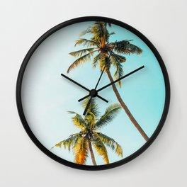 Two Green Tropical Palm Trees Blue Sky Beach Trees Caribbean Vibes Wall Clock