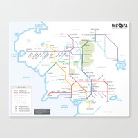 middle earth Canvas Prints featuring Middle Earth Transit Map by mehmetikberker