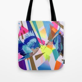 Geo Fly Birds Tote Bag