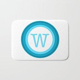 blue letter W Bath Mat