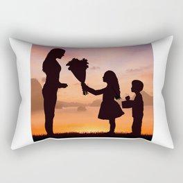 Mother and Children Rectangular Pillow