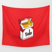 yolo Wall Tapestries featuring YOLO Cigarettes  by RJ Artworks