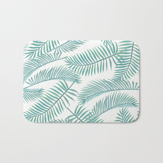 Palm Leaf Pattern Island Paradise Bath Mat By Lavieclaire