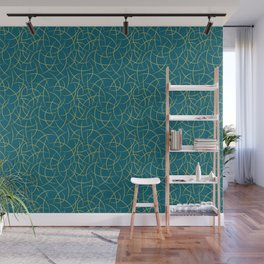 Dark Yellow Abstract Crescent Moon Shape Pattern on Tropical Dark Teal Inspired by Sherwin Williams 2020 Trending Color Oceanside SW6496 Wall Mural