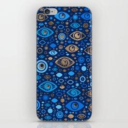 Greek Evil Eye pattern Blues and Gold iPhone Skin