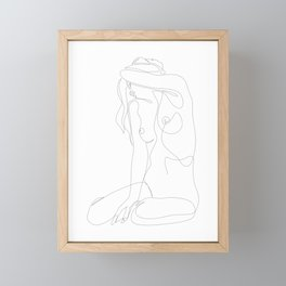 seclusion - one line nude Framed Mini Art Print