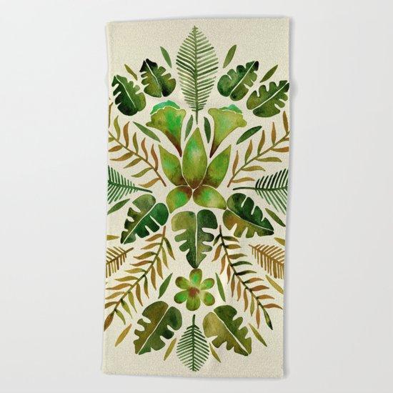 Tropical Symmetry – Olive Green Beach Towel