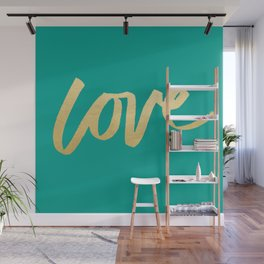 Love Gold Turquoise Type Wall Mural