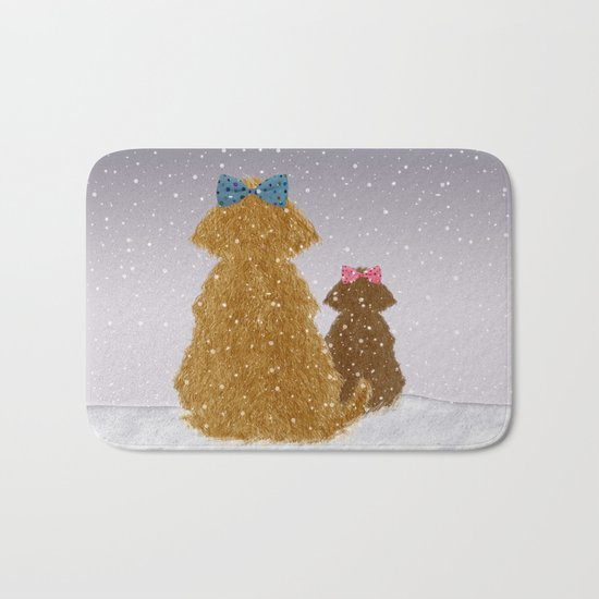 Cute Dogs Winter Scene Bath Mat