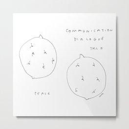 Lemons in Peace - black white fruit illustration peaceful quote Metal Print
