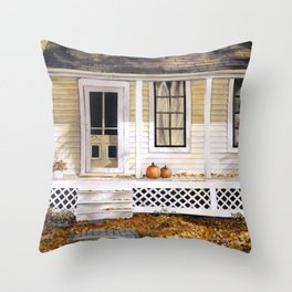 Old House with Pumpkins on Front Porch, Autumn, Fall, Leaves Throw Pillow