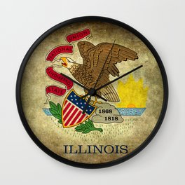 Illinois State flag, vintage on parchment paper Wall Clock