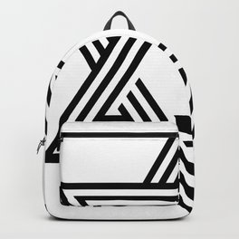 Six Stripe Hexagram Black and White Backpack