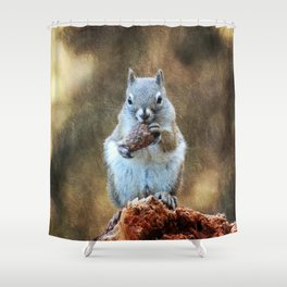 Squirrel with a Pine Cone Shower Curtain