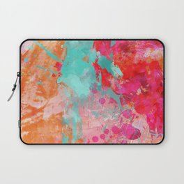 Paint Splatter Turquoise Orange And Pink Laptop Sleeve