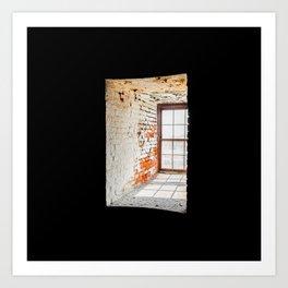 Interior Window Brick Masonry Lighthouse Old Cape Henry Light in the Darkness Art Print