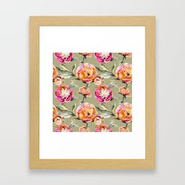 Summery Orange And Pink Peonies Framed Art Print