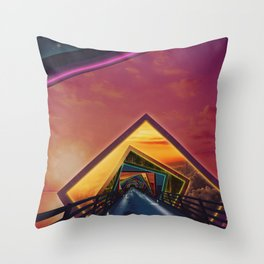 Bridge of a Thousand Colors, a Beautiful Rainbow Fractalscape Throw Pillow