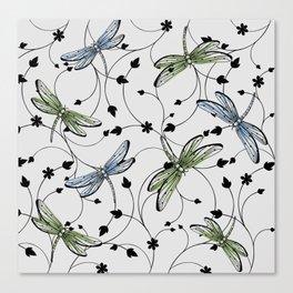 Dragonflies in the garden Canvas Print