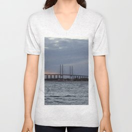 Oresund Bridge, Sweden  Unisex V-Neck