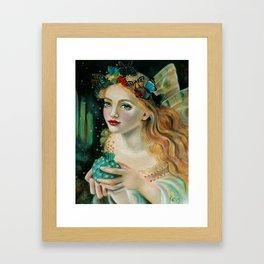 Fairy Face, Fairy with Butterfly Headdress Framed Art Print