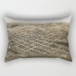 Birds eye view of the city of Coldwater, Michigan - 1868 Rectangular Pillow