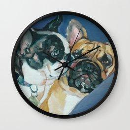 Fanci-Pants and Louie French Bulldogs Wall Clock