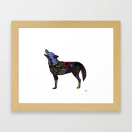 Multicolor Henna-Inspired Wolf Framed Art Print