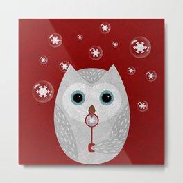 Christmas Owl Red Marble Metal Print