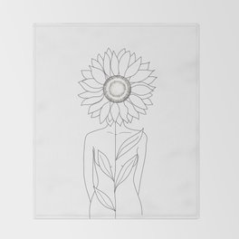 Minimalistic Line Art of Woman with Sunflower Throw Blanket