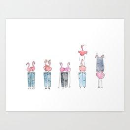 Flamingos and Pants: Iterations Art Print