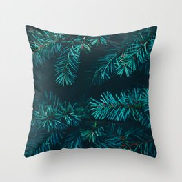 Pine Tree Close Up Neon Green Colorful Leaves Against A Black Background Throw Pillow