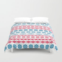 Hand painted blue red watercolor scandinavian geometrical pattern Duvet Cover
