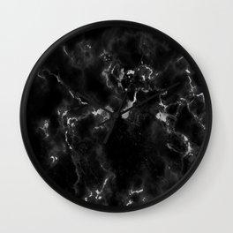 Elegant black silver stylish abstract marble Wall Clock